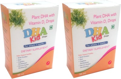 Friska Pack of 2 Plant DHA with Vitamin D3 Kid Drop Delicious Health & Nutrition Drop For Infant 3 Months 60ml Unflavored Drops(60 ml, Pack of 2)