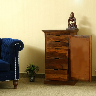 Home Edge Weave Sheesham Solid Wood Free Standing Chest of Drawers(Finish Color - TEAK, Door Type- Hinged)