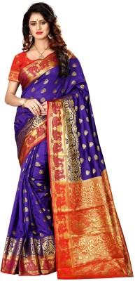 shoppershopee Woven Paithani Banarasi Silk, Pure Silk Saree(Purple)