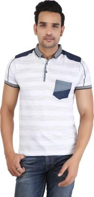 AMADEUS Striped Men Polo Neck Grey, White, Dark Blue T-Shirt