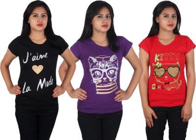 Diaz Casual Cap Sleeve Printed Women Black, Pink, Red Top