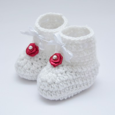 Love Crochet Art Infant crochet knitted pre walker baby booties for 0-6 month baby Booties(Toe to Heel Length - 9 cm, White)