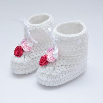 Love Crochet Art Pre Walker New Born Baby 0 to 6 Month Crochet Handmade Woolen Booties Booties(Toe to Heel Length - 8 cm, White)