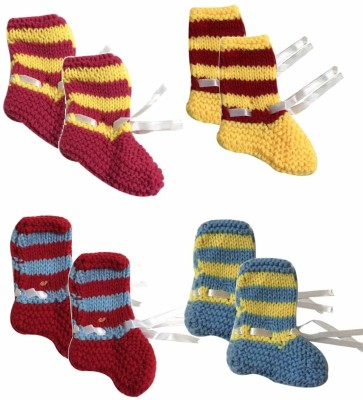 cute collection Cute Collection- Handmade/ Knitted Woolen Socks for New Born Baby (Unisex, 0-6 months) 4 pair Booties(Toe to Heel Length - 5 cm, Mulitcolor)