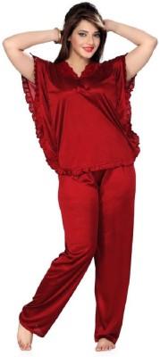 Boosah Women's Solid Maroon Top & Pyjama Set