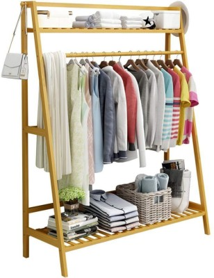 House of Quirk Wood Floor Cloth Dryer Stand ASHAPE_WOODEN_COAT_RACK_100X140CM(1 Tier)
