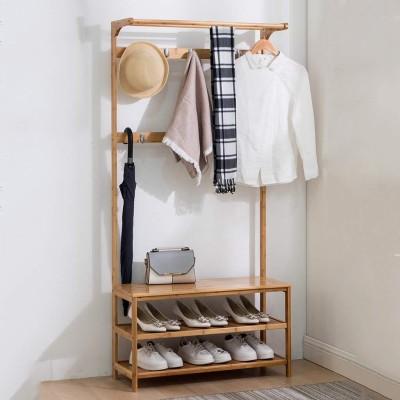 House of Quirk Wood Floor Cloth Dryer Stand WOODEN_SHOE_COAT_RACK(2 Tier)