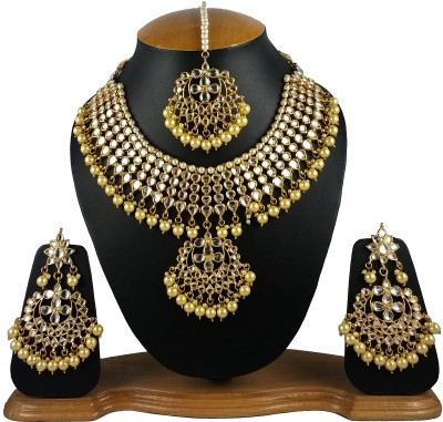 Aradhya Alloy, Metal Jewel Set(Gold, Beige) at flipkart