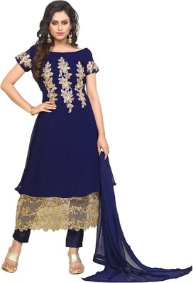 APPEX Women Applique A-line Kurta(Blue, Gold)