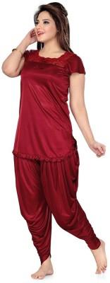 Phalin Women's Solid Maroon Top & Pyjama Set