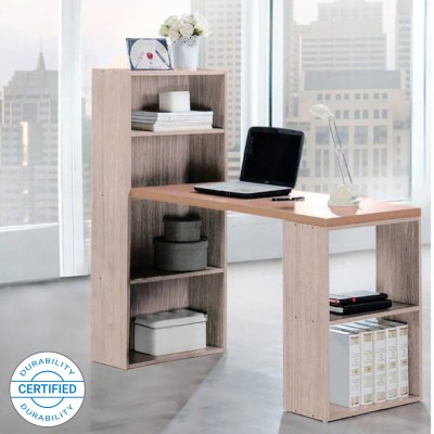 Woodness Chicago Engineered Wood Office Table(Free Standing, Finish Color - Grey Oak)