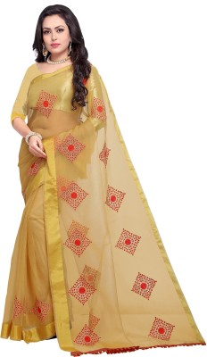 Divastri Embroidered Fashion Silk Cotton Blend Saree(Beige, Red)