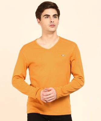 Flying Machine Solid Men V-neck Yellow T-Shirt