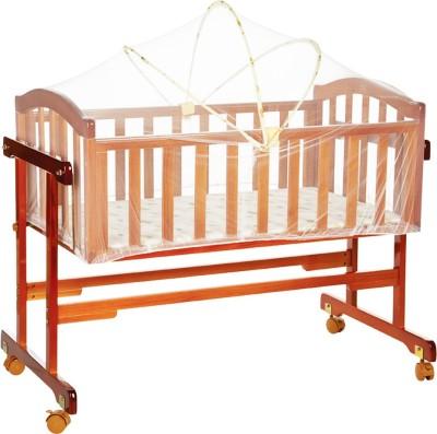 MeeMee Baby Wooden Cradle With Swing & Mosquito Net (Brown)(Brown)