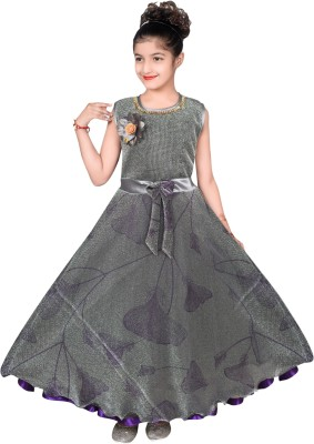 Toy Balloon Kids Girls Maxi/Full Length Party Dress(Red, Sleeveless)