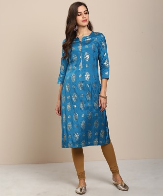 Biba Women Printed Straight Kurta(Blue) at flipkart