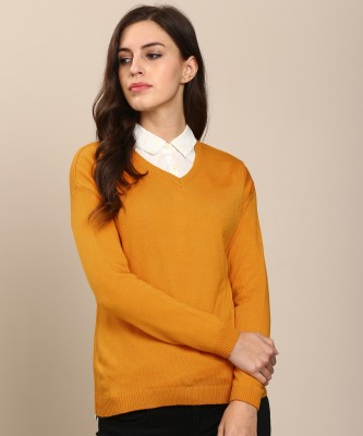 Metronaut Solid V-neck Casual Women's Yellow Sweater