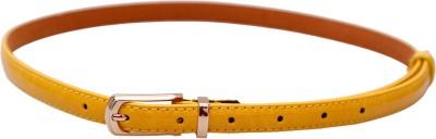 Stylehoops Women Casual Yellow Artificial Leather Belt