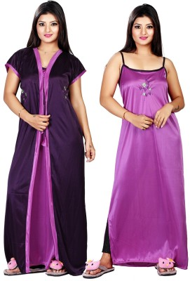 Mahaarani Women Nighty with Robe(Purple)