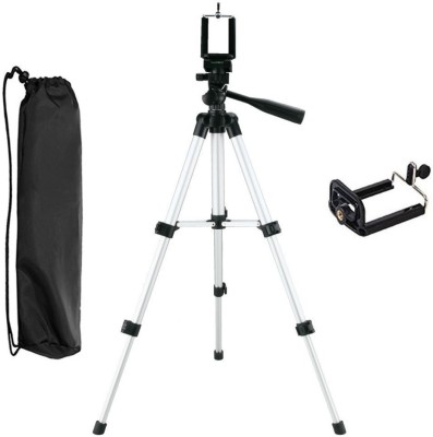 LIFEMUSIC Tripod 3110 40 inch Aluminum Camera Tripod with Universal Smartphone Mount Full Size Tripod Portable Lightweight with 4 Leg Section & Carrying Bag for DSLR Camera, Camcorder, Point Shoot Camera 3110 Tripod, Monopod(Silver & Black, Supports Up to 1500 g)