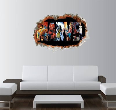GADGETS WRAP Printed marvel heros comic Smashed Wall Decal  22x15 inch  Multicolor