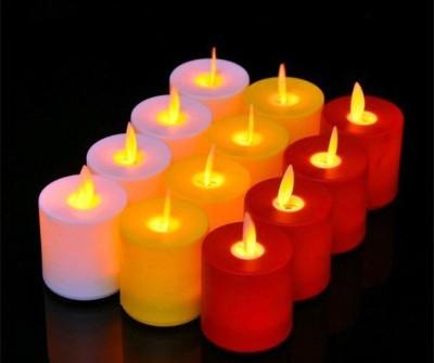 Amazing Set of 12 Yellow Flameless Plastic LED Swinging Candles, Moving Dancing flame Battery Candles Candle(Yellow, White, Red, Pack of 12) at flipkart