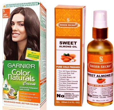 Garnier BOX LIGHT BROWN NO. 5 with PURE COLD PRESSED SHEER SECRET SWEET ALMOND OIL 100 ML(Set of 2)