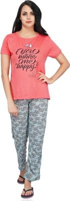 FflirtyGo Women Printed Orange Top & Pyjama Set