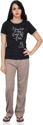 FflirtyGo Women Printed Black Top & Pyjama Set