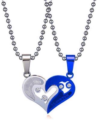 styles creation Couple Lover's Valentine Special Broken Two Half Heart Shape Love Pendant Locket Necklace Chain Jewellery ARTFLJWL155 Sterling Silver Steel Pendant