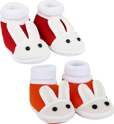 Neska Moda 0 To 6 Month Set Of 2 Baby Booties(Toe to Heel Length - 10 cm, Red, Orange)