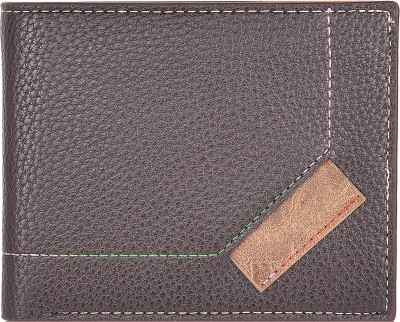 Accezory Men Brown Artificial Leather Wallet 9 Card Slots