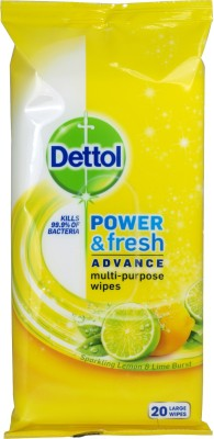 Dettol Power And Shine Advance Multi Purpose Wipes Lemon And Lime