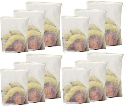 Beddify White Reusable Fridge Storage Bag with Ziplock for Vegetables and Fruits (4 Small, Medium and Large Size) - Set of 12 Pack of 12 Grocery Bags(Beige) at flipkart
