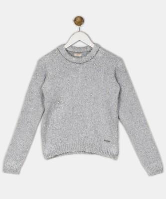 Chemistry Woven Round Neck Casual Girls Grey Sweater at flipkart