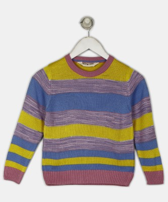 Miss & Chief Striped Round Neck Casual Girls Multicolor Sweater at flipkart