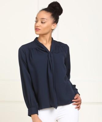 Van Heusen Formal Full Sleeve Solid Women Dark Blue Top
