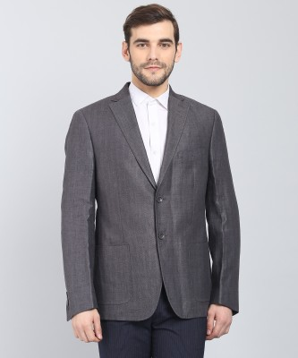 DKNY Self Design Single Breasted Casual Men Blazer(Grey)