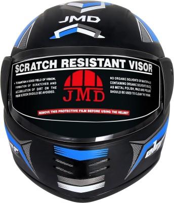 JMD Black Motorbike Helmet(CYAN BLUE)