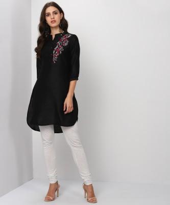 People Women Embroidered Straight Kurta(Black)