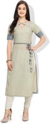 REI Casual Self Design Women Kurti(Grey)