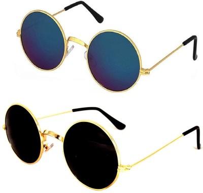 Criba Round Sunglasses(Black, Blue)