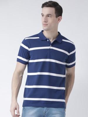 Blue Buddha Striped Men Polo Neck Blue T-Shirt