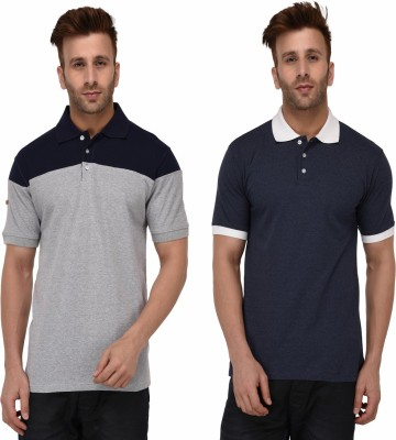 Peter England Self Design Men Polo Neck Grey, Dark Blue T-Shirt
