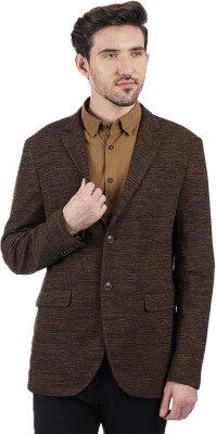 Indian Terrain Solid Single Breasted Casual Men's Blazer(Brown)