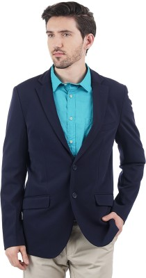 Indian Terrain Solid Single Breasted Casual Men's Blazer(Blue)