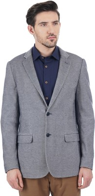 Indian Terrain Solid Single Breasted Casual Men's Blazer(Grey)