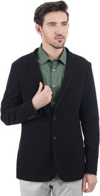 Indian Terrain Solid Single Breasted Casual Men's Blazer(Black)
