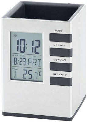Tuelip 1 Compartments Plastic Cube Desk Clock Stand With Alarm(White, Grey)
