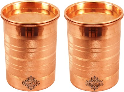 IndianArtVilla Copper Round Plain Glass Tumbler | Volume 590 ML | Home Hotel | Ayurveda Glass(Brass, 590 ml, Brown, Pack of 1)
